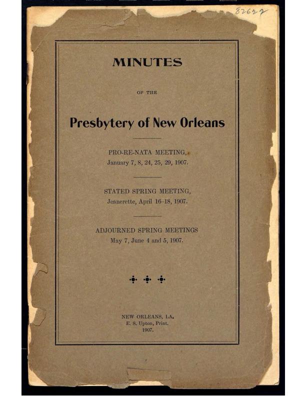Presbyterian Minutes
