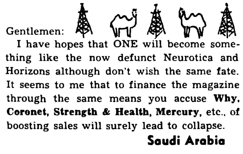 Letter to the editor, ONE, Nov. 1953, 19.