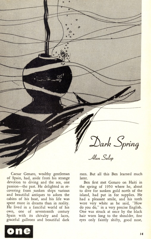 "Alan Salop, ""Dark Spring,"" ONE, Dec. 1955, 14-19."