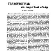 """Janet Thompson,"" ""Transvestism: An Empirical Study,"" Mattachine Review, Dec. 1956, 8-9, 44-46."
